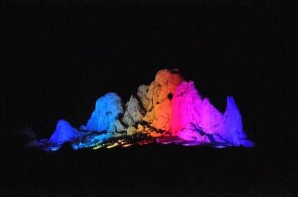 Lichtdesign am beleuchteten Berg